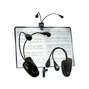 Dual-twin-2-clip-on-book-reading-light-music-stand-led-lights