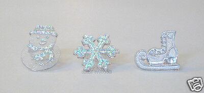 12 Frozen Snow Man Flake Skate Cupcake Ring Topper Xmas Winter Party Supply