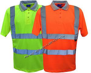 Mens Hi Vis Yellow Reflective Polo T Shirt Size S to 4XL HIGH VISIBILITY SHIRTS