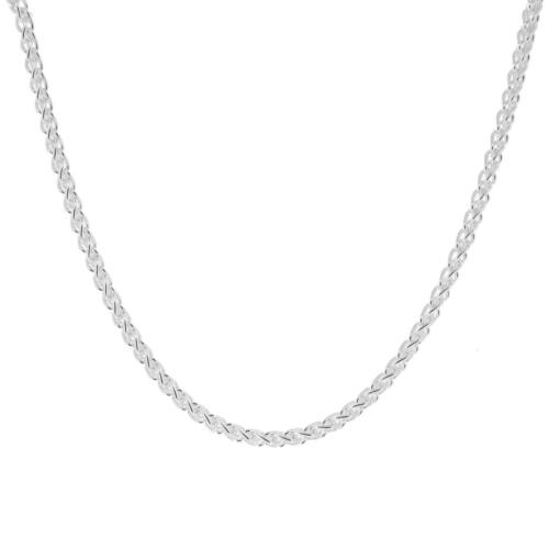 1.8mm 2mm Spiga Solid Sterling Silver Italian Wheat Chain Necklace with E-Coat