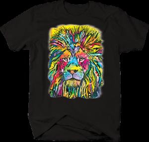 Multicolor-Neon-Color-Majestic-Lion-King-of-Jungle-Big-Cat-Safari-T-shirt