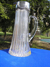 Large ABP American brilliant cut glass pitcher  with sterling collar