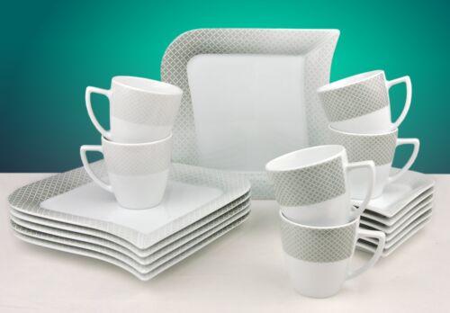 blanc décor 6 personnes tasse assiette porcelaine NEUF Service à café Moonlight 36tlg