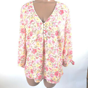 COLDWATER-CREEK-Woman-Polyester-Blouse-Lined-Multi-Color-Floral-3-4-sleeve-Sz-M