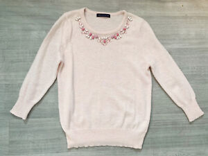 M&S Jewel Alpaca Mix Size 10 Pink Jumper Long Sleeves Round Neck Winter Warm