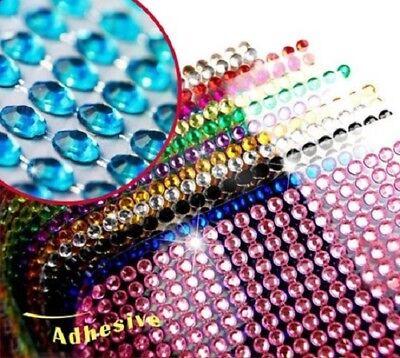 2X 504piece Self Adhesive Rhinestone Bling Stickers Iphone Car Auto 6mm Round US
