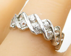 925-Sterling-Silver-Vintage-Fancy-12-Stone-CZ-Band-Ring-Sz-8-R4954