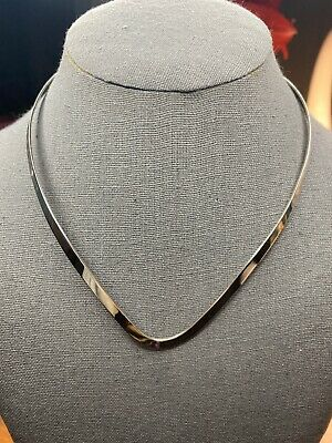 """16/"""" 4mm 925  Sterling Silver Flat V Shape Necklace Choker Collar Wire Cuff N//C"""