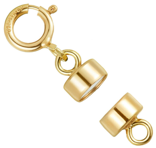 Square Edge 5.5 mm Spring Ring 14k Rose Gold-Filled 4 mm Magnetic Clasp Converter for Light Necklaces USA