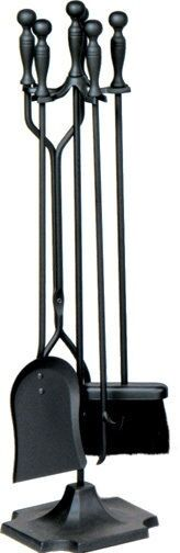 Uniflame® Black Wrought Iron Fireplace Tools 5-pc Set with Ball Handles T51030BK
