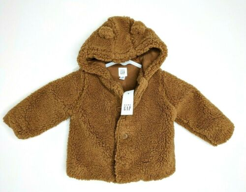 6-12 18-24 Month 3-6 New baby Gap Boys Sherpa Soft Brown Jacket Coat Size 0-3