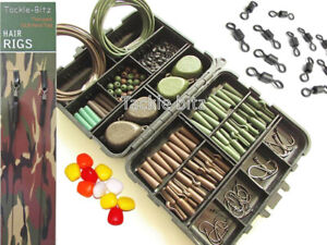 Fishing-Tackle-Box-4-Carp-Weights-Safety-Clips-Hooks-Swivels-Hair-rigs-CHOICES
