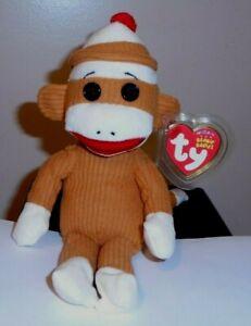 NEW Ty Retired Beanie Baby Socks the Sock Monkey Tan 40919 Corduroy 5//13//2011