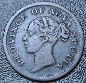 1840-PROVINCE-OF-NOVA-SCOTIA-ONE-PENNY-TOKEN-Victoria-Nice-BR873-NS-2C