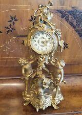 """ANTIQUE ART NOUVEAU GOLD GILT  NEW HAVEN MANTEL CLOCK CUPIDS AND FISH 15""""H"""