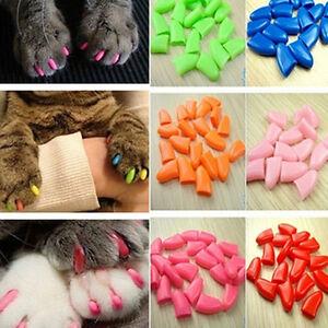 20pcs Soft Cat Pet Nail Caps Claw Control Paws off +Adhesive Glue Size XS-XL HP