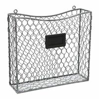 Country Rustic Gray Metal Wire Wall Mounted Magazine, File & Mail Holder Basket on sale