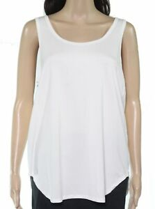 UGG-Womens-Tank-Top-White-Size-Large-L-Back-Cutout-Scoop-Neck-Shirttail-68-732