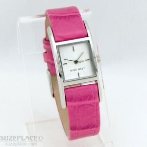 NINE-WEST-LADIES-WATCH-PINK-LEATHER-BAND-NEW