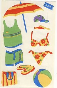 Mrs. Grossman's Giant Stickers - Beach Gear - Clothes, Ball - Fabric - 2 Strips