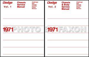 1971 dodge shop manual set challenger charger dart demon swinger rh ebay com 1973 Challenger 1971 Cuda