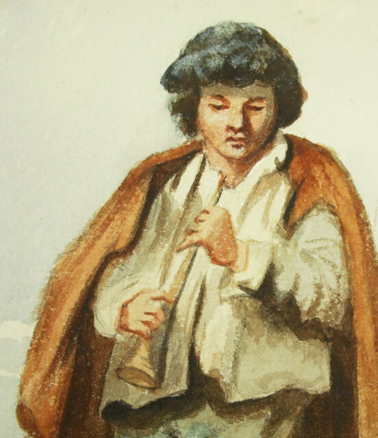 Small Player Of Flute Or Bombarde Drawing Original IN Watercolour c1850 Musician