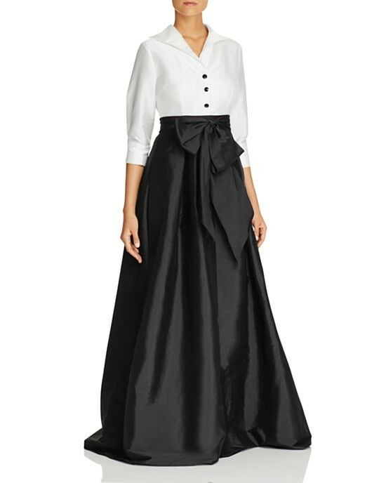 Adrianna Papell Button-Down Blouse 3 4 Sleeve Bow Taffeta Gown (size 6)