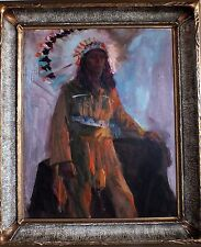 ROLF STOLL listed WPA muralist Cleveland Ohio original old painting Indian Chief