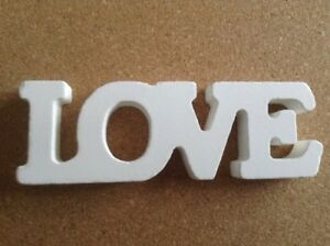 Image Is Loading White Wooden Love Word Block Letters Sign Plaque