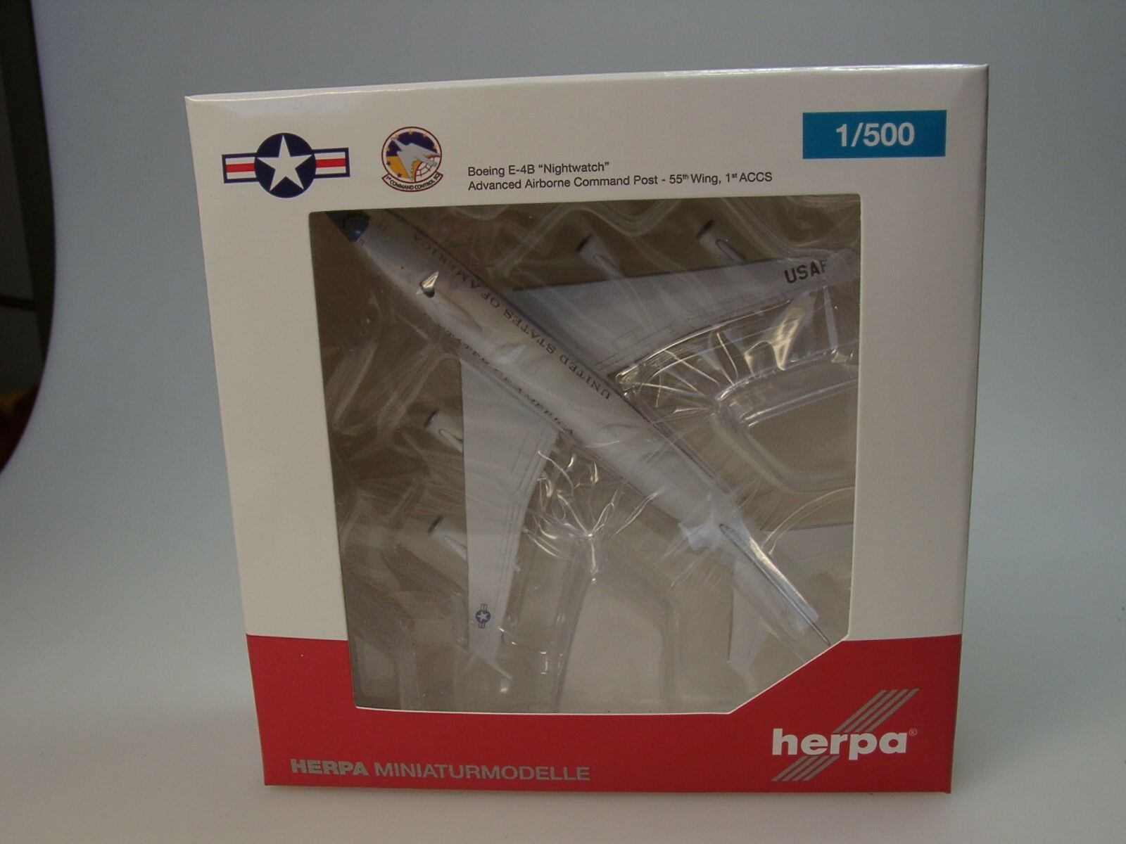Herpa Wings US Air Force Boeing E-4B  Nightwatch    74-0787 - 529266-001 - 1 500  | Moderater Preis