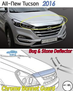 Bonnet-Hood-Guard-Chrome-Garnish-Deflector-K861-Ems-for-Hyundai-Tucson-2016-2020