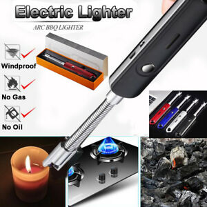 Luxury BBQ Lighter USB Rechargeable Double Arc Plasma Battery Indicator+Gift Box