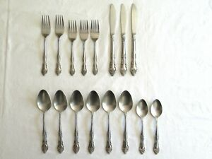 Vintage-Rogers-Co-Stainless-Korea-Taiwan-Dream-Rose-Flatware-16-pieces-Mixed-Lot