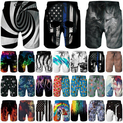 Mens Funny 3D Print Quick Dry Swim Trunks Summer Surfing Beachshorts Boardshorts