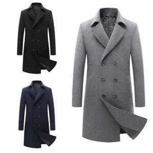 Mens Winter Woolen Trench Coat Thicken Quilted Warm British Windbreaker Jacket L