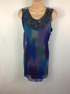 Femme-Lily-amp-Rose-Multi-couleur-embellir-sans-manches-Smart-Decontracte-Chemisier-Taille-24