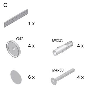 Geuther Easylock Befestigungsmaterial mit Schrauben C. Ersatzteil-Nr: 300000223