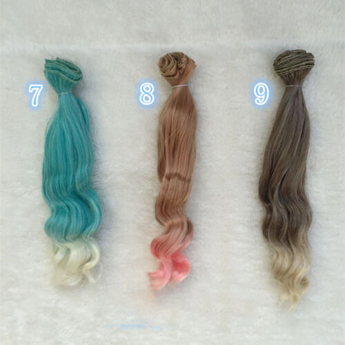 25cm Long DIY Colorful Ombre Curly Wave Doll Wigs Synthetic Hair For Dolls 1#
