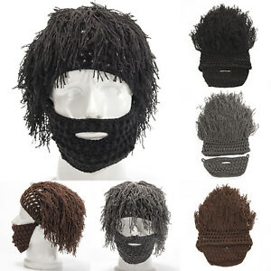 90839076848 Knit Slouch Bearded Wig Hats Mens Beanie Cap with Mask Winter Warm ...