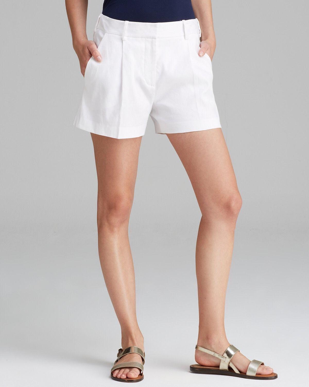 SZ 14 Diane Von Furstenberg White Naples Stretch Linen Shorts NWT