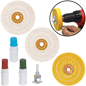 Polishing Kit for Metals 3 Mop wheels 3 compounds drill attachment Cleaning