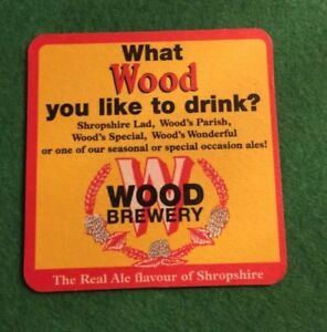 VINTAGE-BEER-MAT-COASTER-TWO-SIDED-WOOD-BREWERY-FF23