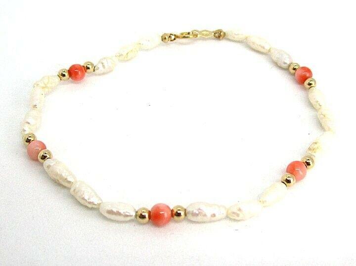 798d484ca30b8 2.9 Bracelet Coral Pearl Freshwater gold Yellow 14K grams 32x2 lot 4 ...