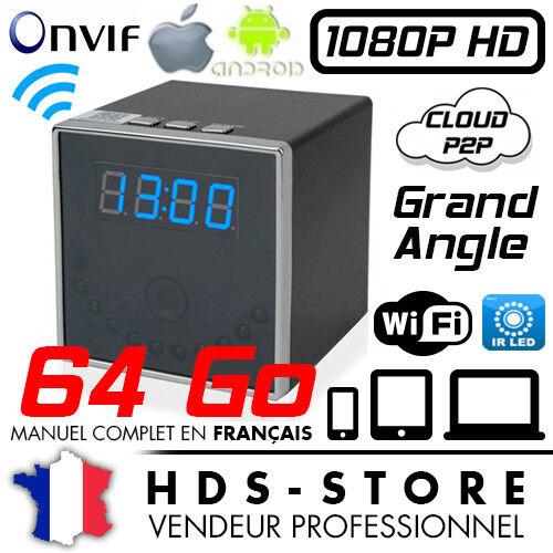 RVLIP2 RÉVEIL CAMERA CUBE ESPION IP WIFI FULL HD 1080P + 64 GO VISION NOCTURNE