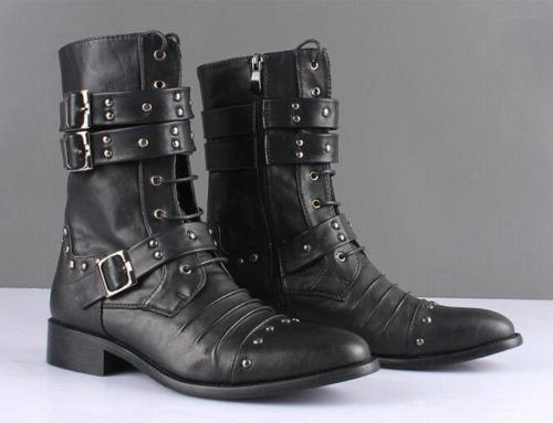 Mens Ankle Boots Studded Rivet military Buckle Pointy toe cowboy Combat Boots