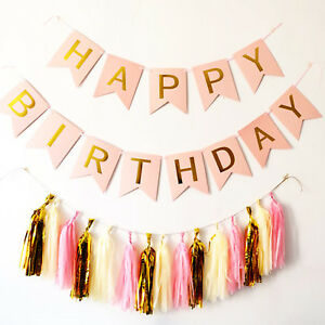 Pastel-Pink-Happy-Birthday-Bunting-Garland-Gold-Letters-Party-Hanging-Banner-HOT