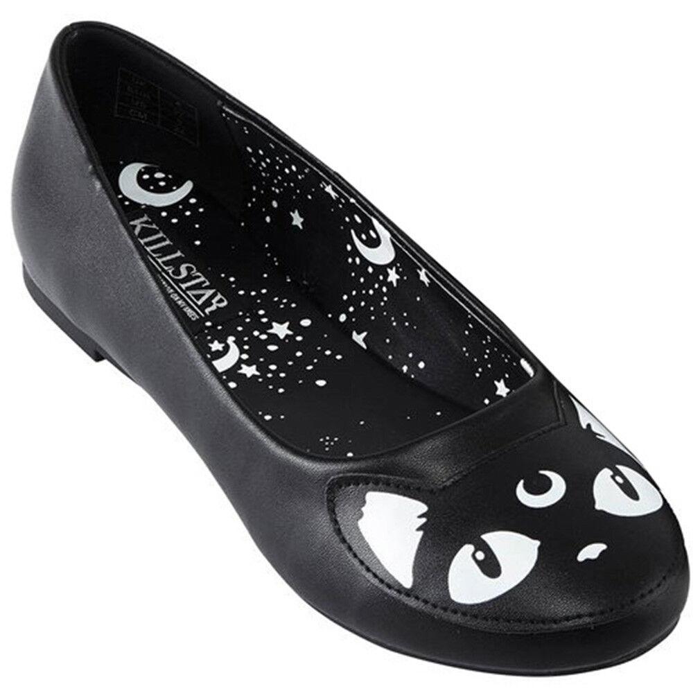 Killstar gótica GOTH ocultismo bailarinas zapatos Flat keiko Kitty Kitty Kitty Gato Luna estrellas  promociones de equipo