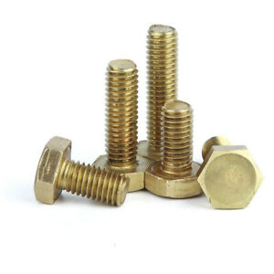 M6 Solid Brass Hex Sets Screws Fully Threaded Bolts Hexagon Head Machine Screw