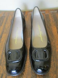6a16f165f2576 Image is loading Salvatore-Ferragamo -Boutique-Black-Patent-Leather-Ballet-Flats-