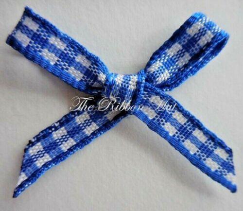 Gingham//Check Ribbon Bows-2.5cm Pkt.10//25//50//100 Bows 5mm Gingham Ribbon